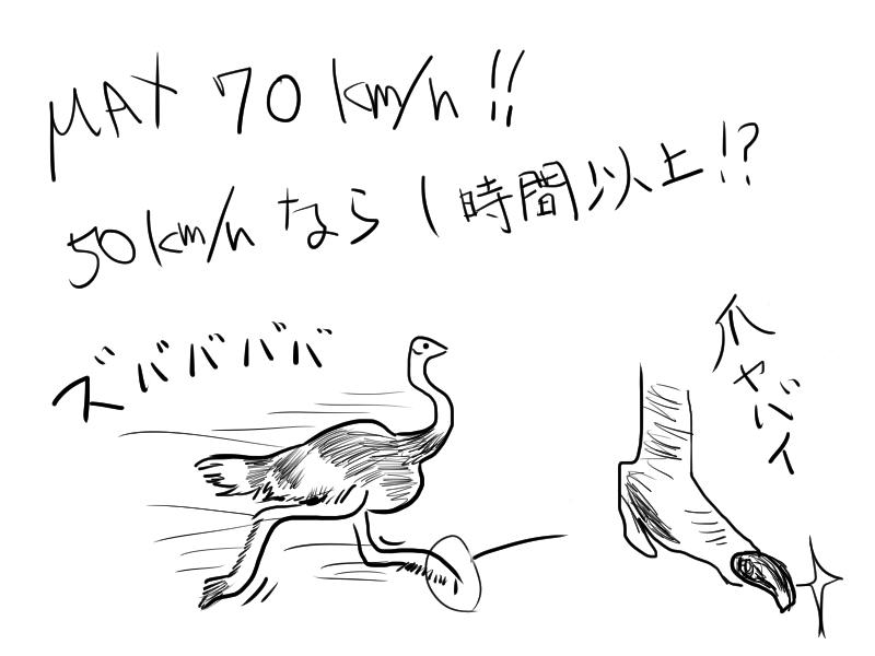 70km/h以上で疾走可能